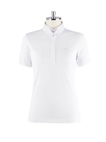 Animo Damen Turniershirt Polo Shirt Birka Weiss Swarovski Neue Kollektion